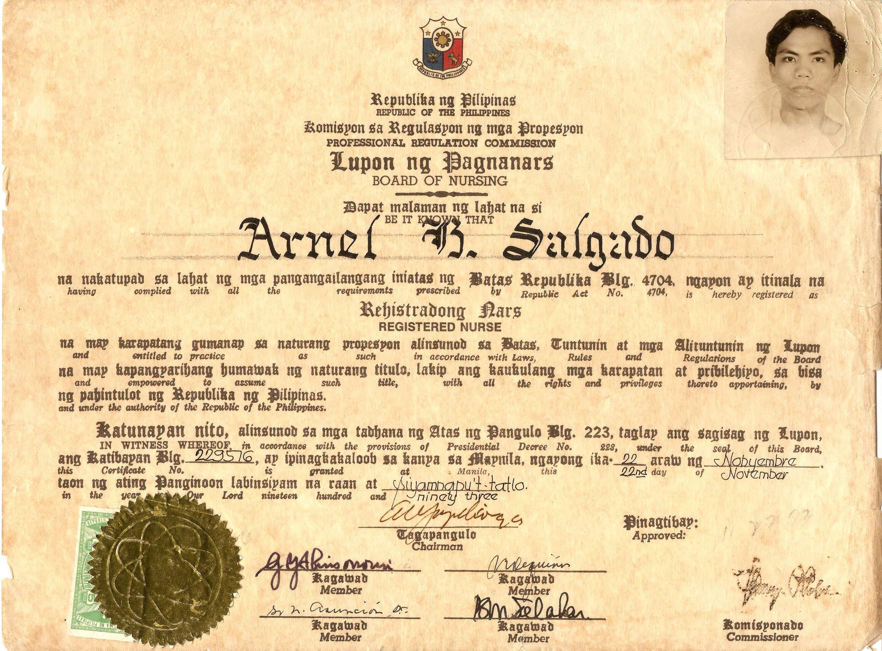 Registration Certificate Prc Nurse Registration Certificate